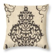 Large Pendant, Two Winged Fantasy Creatures With Trumpets At Bottom Throw Pillow