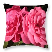 Large Pink Roses Throw Pillow