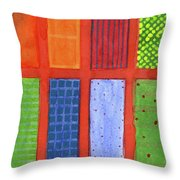 Large Rectangle Fields Between Red Grid  Throw Pillow