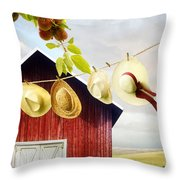 Large Red Barn With Hats On Clothesline In Field Of Wheat Throw Pillow
