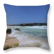Large Rock Formation On The Beach At Boca Keto Throw Pillow