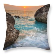 Large Rocks And Wave With Sunset On Paradise Island Greece Throw Pillow