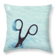 Large Scissors In Snow Throw Pillow