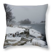 Large Stones Covered With Snow Throw Pillow