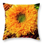 Large Sunflower On Indian Corn Throw Pillow