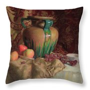 Large Vase With Apples Throw Pillow