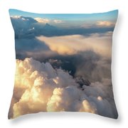 Large White Cloud From Passanger Airplace Window At Sunset Throw Pillow