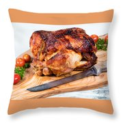 Large Whole Chicken Ready To Be Carved On Wooden Server Board  Throw Pillow