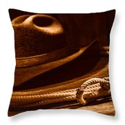 Lariat And Hat - Sepia Throw Pillow