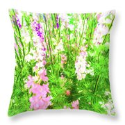 Larkspur Flowers In Soft Oil Style Throw Pillow