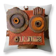 Larry The Robot Throw Pillow by Jen Hardwick