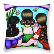 Las Tres Rosas Throw Pillow