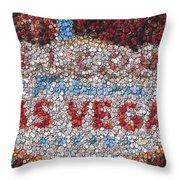 Las Vegas Sign Poker Chip Mosaic Throw Pillow