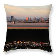 Las Vegas Skyline At Dawn And At Night Throw Pillow