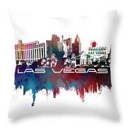 Las Vegas Skyline City Blue Throw Pillow