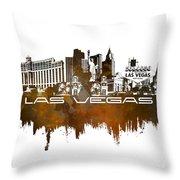 Las Vegas Skyline City Brown Throw Pillow