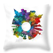 Las Vegas Small World Cityscape Skyline Abstract Throw Pillow