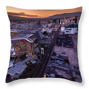 Las Vegas Strip Aloft Throw Pillow