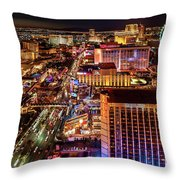 Las Vegas Strip North View Night 2 To 1 Ratio Throw Pillow