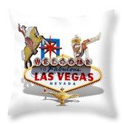 Las Vegas Symbolic Sign On White Throw Pillow