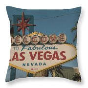 Las Vegas Welcome Sign With Vegas Strip In Background Throw Pillow