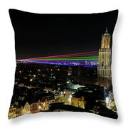 Laser Beams On The Dom Tower In Utrecht 23 Throw Pillow