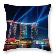 Laser Show At Mbs Singapore Throw Pillow by Yew Kwang