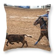 Lassoing The Calf Throw Pillow