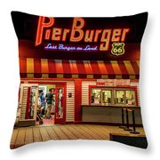 Last Burger On Land Throw Pillow