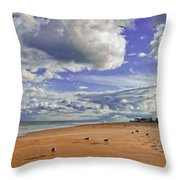 Last Day At The Beach Throw Pillow