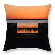 Last Glow Over The Water Throw Pillow