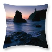 Last Light At Ruby Beach Throw Pillow