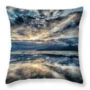 Last Light Isle Of Rum From Isle Of Eigg Throw Pillow