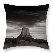 Last Light On Devils Tower Bw Throw Pillow