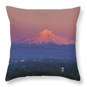 Last Light On Mount Hood From Rocky Butte Throw Pillow