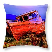 Last Red Boat Throw Pillow