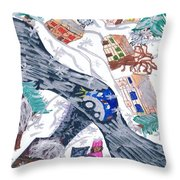 Last Snowman Of The Season Throw Pillow