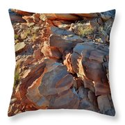 Last Sunlight On Jagged Sandstone In Valley Of Fire Throw Pillow