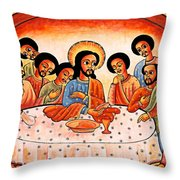Last Supper Angels Throw Pillow