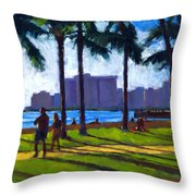 Late Afternoon - Queen's Surf Throw Pillow by Douglas Simonson