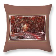 Late Autumn Avenue H A With Decorative Ornate Printed Frame. Throw Pillow