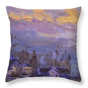 Late Evening In Town Throw Pillow
