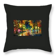 Late Night - Palette Knife Oil Painting On Canvas By Leonid Afremov Throw Pillow