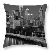 Late Night Philly Grayscale Throw Pillow
