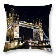 Late Night Tower Bridge Throw Pillow by Elena Elisseeva