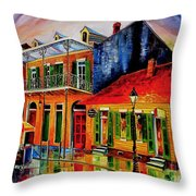 Late On Bourbon Street Throw Pillow