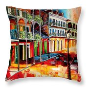 Late On Royal Street Throw Pillow
