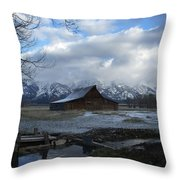 Late Snow On South Moulton Barn Throw Pillow