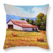 Late Summer Hay Throw Pillow