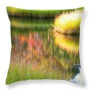 Stillness Of Late Summer Marsh  Throw Pillow